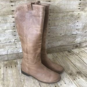 Frye Distressed Tan Paige Tall Riding Boots 9.5